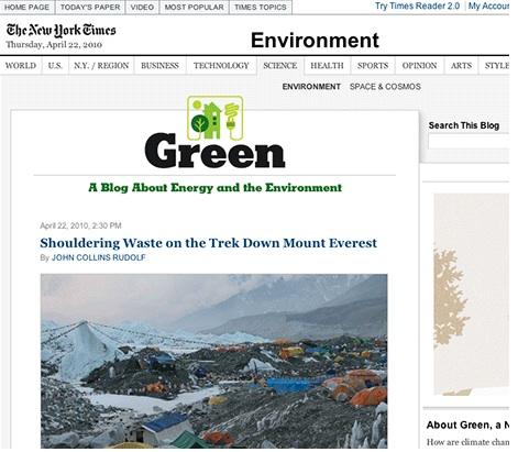 Environmental coverage cut at the Times